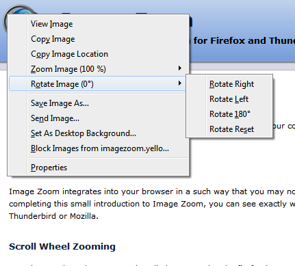 Image Rotate Context Menu