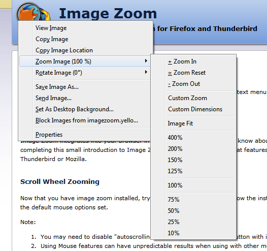 Image Zoom Context Menu