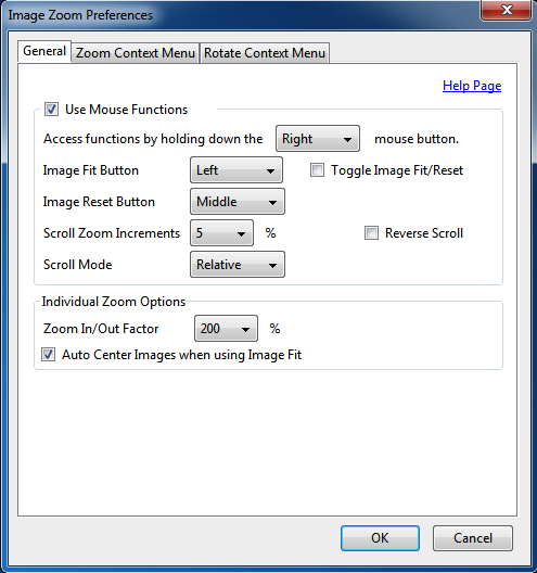 Image Zoom Options General