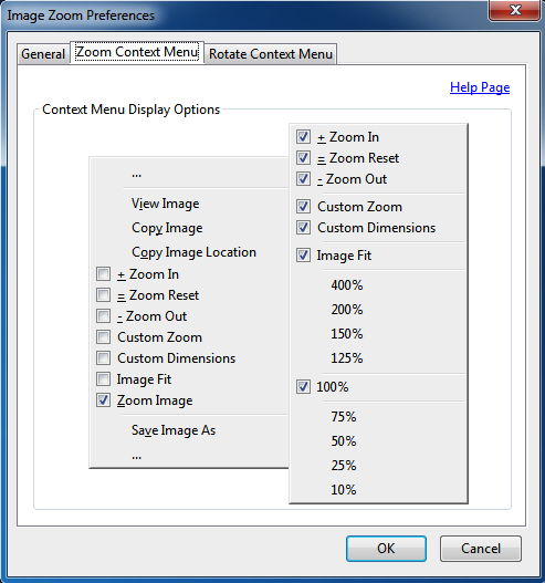 Image Zoom Options Zoom